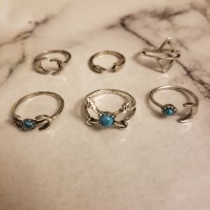 Jewelry - 6 Pc Set Bohemian Turquoise Colored Rings